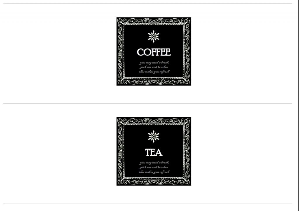 紅茶,コーヒー,ココア,サプリ,クリープ,青汁,ふりかけ,モノトーン,無料,ラベル,フリー,素材