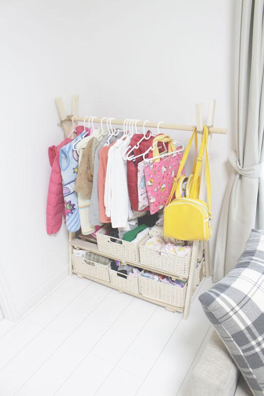 ハンガーラック,DIY,hangerack,子供用,簡単,片づけ,洋服